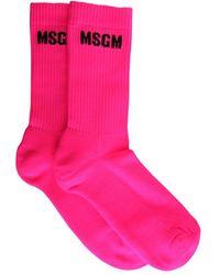 MSGM Socks With Micro Logo - Pink