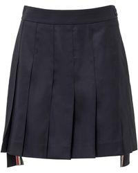 Thom Browne Pleated Mini Skirt - Blue
