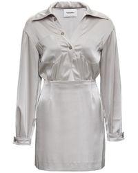 Nanushka Altair Gray Satin Dress