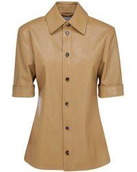Bottega Veneta Leather Short Sleeve Shirt - Natural