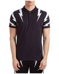 Neil Barrett Thunderbolt Print Polo Shirt - Black