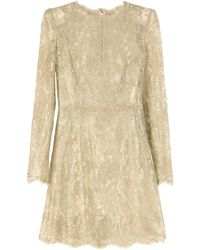 Dolce & Gabbana Floral Lace Mini Dress - Metallic