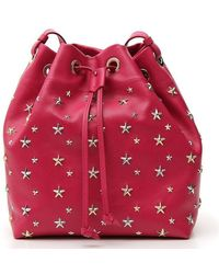 Jimmy Choo Juno Star Studded Bucket Bag - Pink