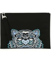 KENZO Kampus Tiger Embroidered Pouch Bag - Black
