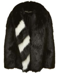 Off-White c/o Virgil Abloh Fake Fur Coat - Black