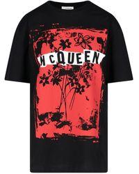 Alexander McQueen Logo Print Crewneck T-shirt - Black
