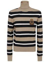 Dolce & Gabbana Striped Turtleneck Sweater - Multicolour