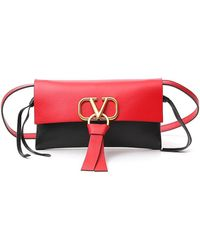 Valentino Vring Crossbody Bag In Glossy Calfskin And Multicolour Buffalo Leather - Red
