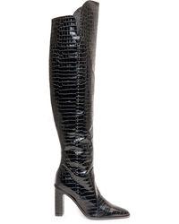 Max Mara Embossed Knee-high Boots - Black