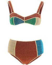 Oséree Glitter Colour Block Bikini Set - Multicolour