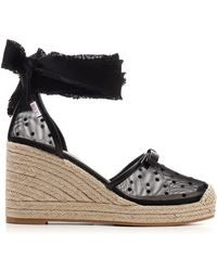 RED Valentino Ankle Wrap Wedge Espadrilles - Black