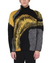 Alexander McQueen High Neck Wool Jumper With Abstract Pattern Inlay - Black