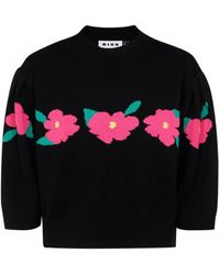 RIXO London Floral Intarsia Knit Sweater - Black
