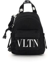 Valentino Vltn Mini Backpack Crossbody Bag - Black