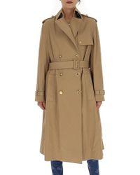 Versace Baroque Printed Belted Trench Coat - Natural