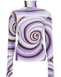 Raf Simons Printed High Neck Top - Purple