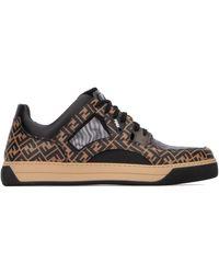 Fendi Ff Logo Low Top Sneakers - Black