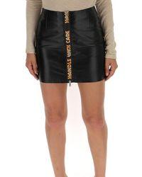 Heron Preston Handle With Care High Waist Leather Mini Skirt - Black
