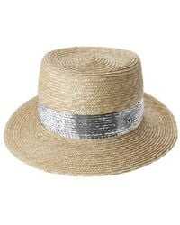 Maison Michel Ed Sequined Trilby Hat - Natural