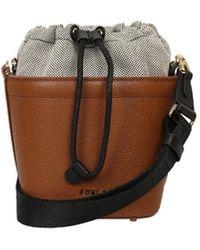 Furla Logo Drawstring Bucket Bag - Brown
