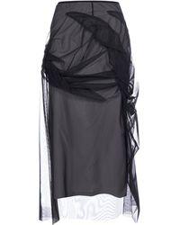 Maison Margiela Draped Tulle Midi Skirt - Black
