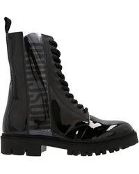 Moschino Logo Combat Boots - Black