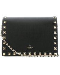 Valentino Garavani Garavani Rockstud Chain Crossbody Bag - Black