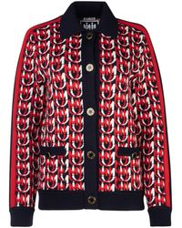 Miu Miu All Over Monogram Jacquard Cardigan - Red