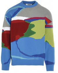 MSGM Abstract Patterned Knit Sweater - Blue