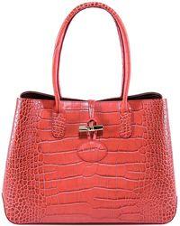 Lyst - Longchamp Roseau Crocodile S Tote Bag in Pink e2e1d1f676e54