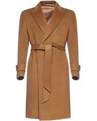 Tagliatore Tie Waist Single-breasted Coat - Brown