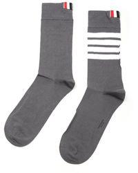 Thom Browne Mid Calf Socks In Light Cotton - Gray