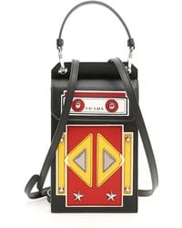 a3f444361698 Prada City Calf And Saffiano Bag With Robot in Orange - Lyst