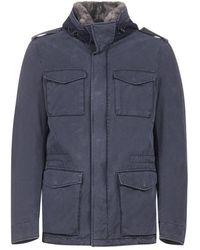 Herno Fur Trimmed Zip-up Jacket - Blue