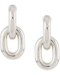 Paco Rabanne Silver-colored Aluminum Xl Hoop Earrings - Metallic