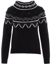 Alberta Ferretti Intarsia Embroidered Sweaterin Black