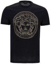 Versace Crystal Embellished T-shirt - Black