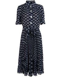 Prada Pleated Printed Dress - Blue
