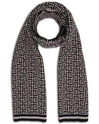 Balmain Monogram Wool Scarf - Black