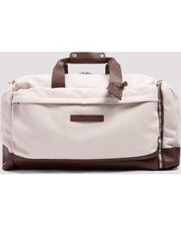 Brunello Cucinelli Contrast-trimmed Holdall Bag - Natural