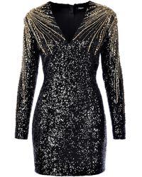 Balmain Sequin Embellished V-neck Mini Dress - Black