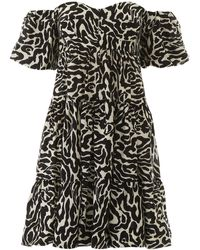 Pinko Zebra Print Off-shoulder Mini Dress - Black