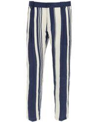 Dolce & Gabbana Striped Linen Pants 46 Linen - Blue