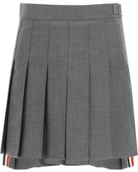 Thom Browne Pleated Mini Skirt - Grey