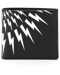Neil Barrett Fair-isle Thunderbolt Wallet - Black