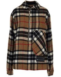 we11done Front-zip Checked Overshirt - Multicolor