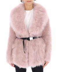 Prada Belted Fur Coat - Pink