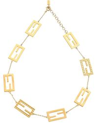 Fendi Baguette Ff Motif Necklace - Metallic