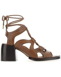 Chloé Brown Leather Gaile Sandals Nd