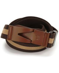 Tod's Canvas And Leather Greca Belt - Brown